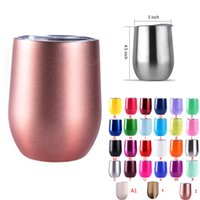 Wholesale Coffee Cups Mugs - 9oz stainless steel tumbler stemless wine glasses travel cup wine tumblers rose gold + 27colors with lid beer mugs coffee egg cup