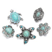 Wholesale wholesale fashion turtle jewelry - High quality w298 Turtles 30mm rhinestone metal snap button for Bracelet Necklace Jewelry For Women Fashion accessories