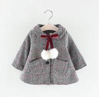 koreanische babys tragen großhandel-Mädchen Baby Plaid Jacke Wollmantel 2018 neue Herbst und Winter tragen koreanische Mode Kinder Mantel