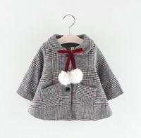desgaste coreano dos bebés venda por atacado-Meninas casaco de lã jaqueta xadrez de lã 2018 novo outono e inverno desgaste casaco de moda infantil coreano