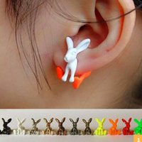 Wholesale bright color earring resale online - Party Favor Top quality women earrings Bright color personality rabbit Earrings lovely gift for Christmas gifts