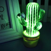 Wholesale party ball props - New Green Cactus Led Night Light Children Led Lamps For Christmas Home Living Room Decoration Take Props