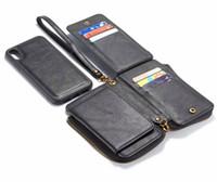 ingrosso copertura zip iphone-Custodia in pelle con cerniera multi-funzione custodia in pelle 2 in1 Custodia in pelle rimovibile con custodia in PU per iPhone XS XR Max per Galaxy S9 S9plus