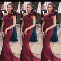 Wholesale maternity formal dresses - Elegant One Shoulder Mermaid Burgundy Prom Dresses Sleeveless Long Train Special Formal Party Gown Zipper Back Evening Dresses