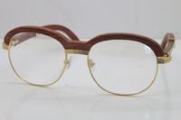 holzbrillen transparent großhandel-Kostenloser Versand sonnenbrille Hot Gold Holz Eyewear 1116443 Brillen männer Geschnitzte Holz Trimmen Objektiv Brille frauen Transparente linse