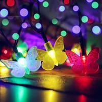 schmetterlingsseil großhandel-SOCO Outdoor Solar Seil Beleuchtung Weihnachtsschmuck Led Licht Bunte Changing Butterfly Solar String Beleuchtung Neue Ankunft