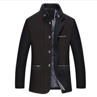 Wholesale single button pea coat - New Men's Autumn And Winter Wool Jacket Button Blends Pea Coat Thick Padded Winter Jacket Men