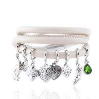 Wholesale Set Soft Bracelets - JLN Multi Strand Charm Bracelet Soft PU Leather Magnetic Clasp Colorful 24 Inches Bracelet Gift For Man Woman
