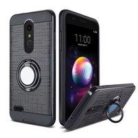 telefones celulares zte max venda por atacado-Para zte max x n9560 max pro z981 pc tpu híbrido defensor escovado de metal caso de telefone celular com anel kickstand cobrir baixo preço