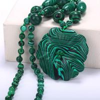 yeşil malakit kolye toptan satış-5 * 5 Cm Kadınlar Kolye Kolye Takı Malakit El Oyma Pop Kristal Yeşil Malakit Kuvars 70 cm Bildirimi Kolye Kristal