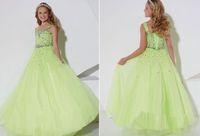 зелёные брюки оптовых-Яблоко зеленый цветок девушка платье Принцесса дети конкурс танцевальная вечеринка свадьба День Рождения