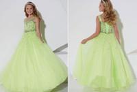 robes de fille pageant vert pomme achat en gros de-Apple Green Flower Girl Dress Princesse Enfants Pageant Party Danse De Mariage D'anniversaire
