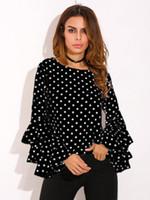 Wholesale lantern sleeve blouse - 2018 New Women Chiffon Blouse Women Shirts Polka Dot O-neck Blouse Clothing Chiffon Blouse