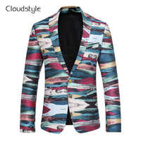 Wholesale Colorful Blazers - 2018 Cloudstyle Male Blazer Fashion Own Designed Colorful Printing Single Button Overcoat Casual Slim Fit Business Men