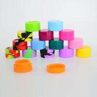 stifthalter silikon großhandel-Antihaft-Wachs-Behälter 5ml Silikon-Glas-Tupfen-Werkzeug-Speicher-Glas-Öl-Halter FDA genehmigte trockene Kraut-Silikon-Behälter für Wachs-Vape-Stift