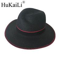 Nuova paglia anormalità singolo logo in metallo nero rosso cucitura cappello  di paglia protezione solare cappello da sole per il tempo libero femminile 14cdd6242320
