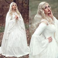 Wholesale Black Renaissance Dresses - 2017 Renaissance Gothic Lace Ball Gown Wedding Dresses With Cloak Plus Size Vintage Bell Long Sleeve Celtic Medieval Princess Bridal Gown
