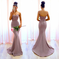 Wholesale Purple Pink Baby Shower - New Backless Mermaid Bridesmaid Dresses 2018 Spaghetti Straps Appliques Maid of Honor Gowns Wedding Reception Baby Shower Gowns Floor Length