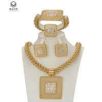 jubiläumsarmband ohrringe halskette großhandel-Ganze saleFashion afrikanischen Schmuck Sets Big Choker Halskette Ohrringe Sets für Frauen Platz Armband Jubiläum