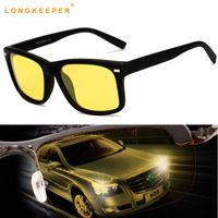gafas polarizadas amarillas al por mayor-LongKeeper 2018 Hot Polarized Men Sunglasses Hombres Amarillo Lens Night Driving Glasses Gafas Antideslumbrante Polarizador Eyewears