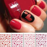 tırnak yüreği tasarımları toptan satış-Nail Art Sticker Moda Aşk Kalp Tasarım Nail Art Sticker Çıkartma Manikür İpucu Dekorasyon