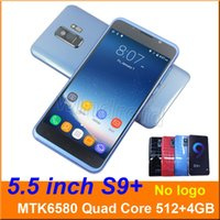 Wholesale 3g android gestures - 5.5 inch S9+ S9 Smart Phone MTK6580 Quad Core 512MB 4GB Android 6.0 3G Unlocked Dual SIM CAM 5MP Mobile phone Gesture wake face unlock DHL