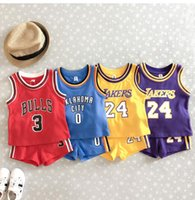Wholesale free baby clothes for sale - New Arrival Children Clothing Sport Set Kids Basketball Training tracksuit Baby Boy Girls Casual Pieces Set