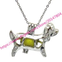 """Wholesale 35mm beads - K583 Silver 35mm Cute Lucky Dog Puppy Beads Cage Necklace 18"""" - Kids Party Day"""