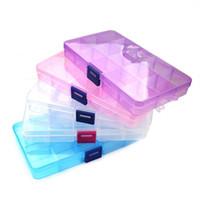 caja de anillo de joyería de plástico transparente al por mayor-15 Compartimiento Caja de almacenamiento de plástico transparente Caja pequeña Caja de almacenamiento de joyas para collar Pendientes Anillos 300pcs