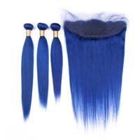 ingrosso capelli di trama colorata-Estensioni di trama blu colorate dei capelli diritti con l'orecchio all'orecchio frontale Colore blu 3 bundles capelli umani offerte con 4 * 4 frontale in pizzo