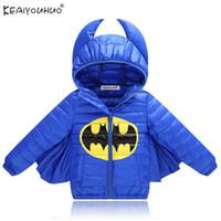 batman kapüşonlu toptan satış-Örümcek adam Ceket Batman Ceket 2018 Yeni Sonbahar Kış Bebek Erkek Mont Sıcak Kapüşonlu Çocuklar Aşağı Ceketler Kız Giyim