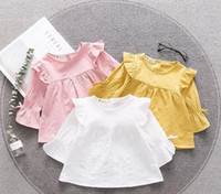 Wholesale girls fall shirts - INS fall NEW arrival Girls Kids solid colo shirt long Sleeve round collar shirt kids causal 100% cotton girl causal T shirt 3 colors