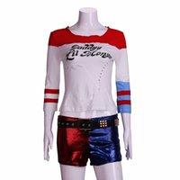 baba tişört toptan satış-2016 Film Cosplay İntihar Kadro Harley Quinn Kostüm T Gömlek babasının Lil Canavar T-Shirt Joker Cosplay Kostümleri Tam Set