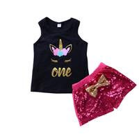 Wholesale Sleeveless T Shirts For Babies - 2018 Ins Baby Kids Unicorn Clothes Set Sleeveless Vest T-shirt+Sequin Bow Shorts 2pcs set Summer Ouitfit Bling Bling Custume for Girls