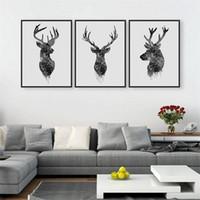 habitaciones pintadas de negro al por mayor-Nueva pintura de la lona a prueba de agua sala de estar arte de la pared fotos de animales impresión negro cabeza de ciervo blanco pinturas modernas venta caliente 21 8aw4 aa