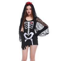 trajes de halloween do zombi para mulheres venda por atacado-Trajes de Halloween para As Mulheres Negras Crânio Esqueleto Zombie Cadáver Traje Da Noiva Fantasia Cosplay Vestido para Mulher Adulta
