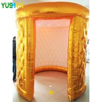 ingrosso scuola di sfondo-Cabina gonfiabile dorata o argentata per foto stand per party 2 ante con tenda a strisce LED per tende da campeggio