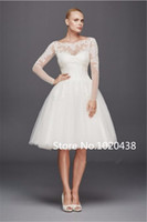 Wholesale long sleeved wedding dresses organza for sale - Group buy Scoop Long Sleeved Short Wedding Dress ZP341642 Shimmering Lace Appliques Knee Length Sexy Bridal Dress