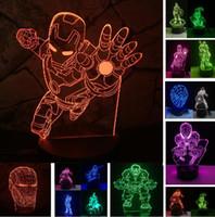 батман светодиодные фары оптовых-Мстители супер герой Ironman Бэтмен Халк Капитан Америка рисунок 3D ночник LED 7 изменение цвета градиент иллюзия день рождения ребенок подарок