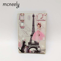 Wholesale Tower Cards Credit - Mcneely PU Leather Eiffel Tower Passport Cover Women Travel Passport Holder Credit Card Case Girls ID Card Wallets High Quality