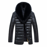 Wholesale fox fur leather jacket men - Wholesale- New men jacket winter warm men's leather jackets and coats PU leather jacket men long winter jacket with really fox fur collar