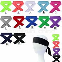 kravatlar için eşarplar toptan satış-Spor Bantlar Katı Kravat Geri Streç Ter Bantlari Yoga Saç Bandı Nem Esneklik Erkekler Kadınlar Koşu Koşu için Bantları atkılar GGA517