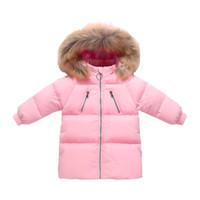 kışlık ceketler unisex parkas toptan satış-Kış çocuk giyim aşağı parkas çocuklar kapşonlu pamuk palto Kalınlaşmak kapşonlu pamuklu ceket 2-6 t uzun sıcak parkas
