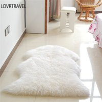 fundas de cojín amarillo al por mayor-60x90 cm alfombra melenuda caliente Tapis silla cojín alfombra para la sala de estar alfombra simple piel suave Faux lavable dormitorio alfombras
