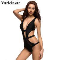 Wholesale sheer swimwear for women online - Varleinsar Black sheer mesh splicing sexy one piece swimsuit for women swimwear female bathing suit swim backless monokini V327