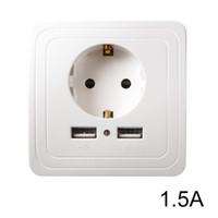 ingrosso uscite dual usb-Presa di corrente UE Presa di corrente Pannello Dual USB Porta 1.5A Adattatore per caricabatterie da muro bianco