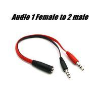 auricular femenino al por mayor-Universal 3.5mm 1 hembra a 2 audio masculino del auricular del auricular del cable del divisor 1x2 Couper amante Cables Adaptador de clavija