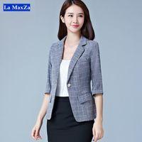 0a937b2ec52 Plaid Blazer Jacket For Women Office Lady Work Wear Stylish Formal Suit  Business Notched Single Button Tops Plus Size Outwear