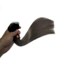 siyah atkı insan saç uzantıları toptan satış-Remy İnsan Saç Uzantıları üzerinde bant 100G Uzantıları üzerinde Dikişsiz Cilt Atkı Yapıştırıcı Saç Tutkal 40 ADET Siyah gri Soluk