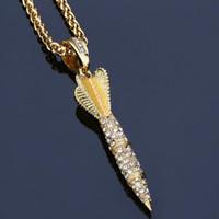 Wholesale Rocket Party - 2018 rocket hip-hop Pendant Necklace Diamond Hip Hop jewelry 18K Gold plated for men Long chains 75cm